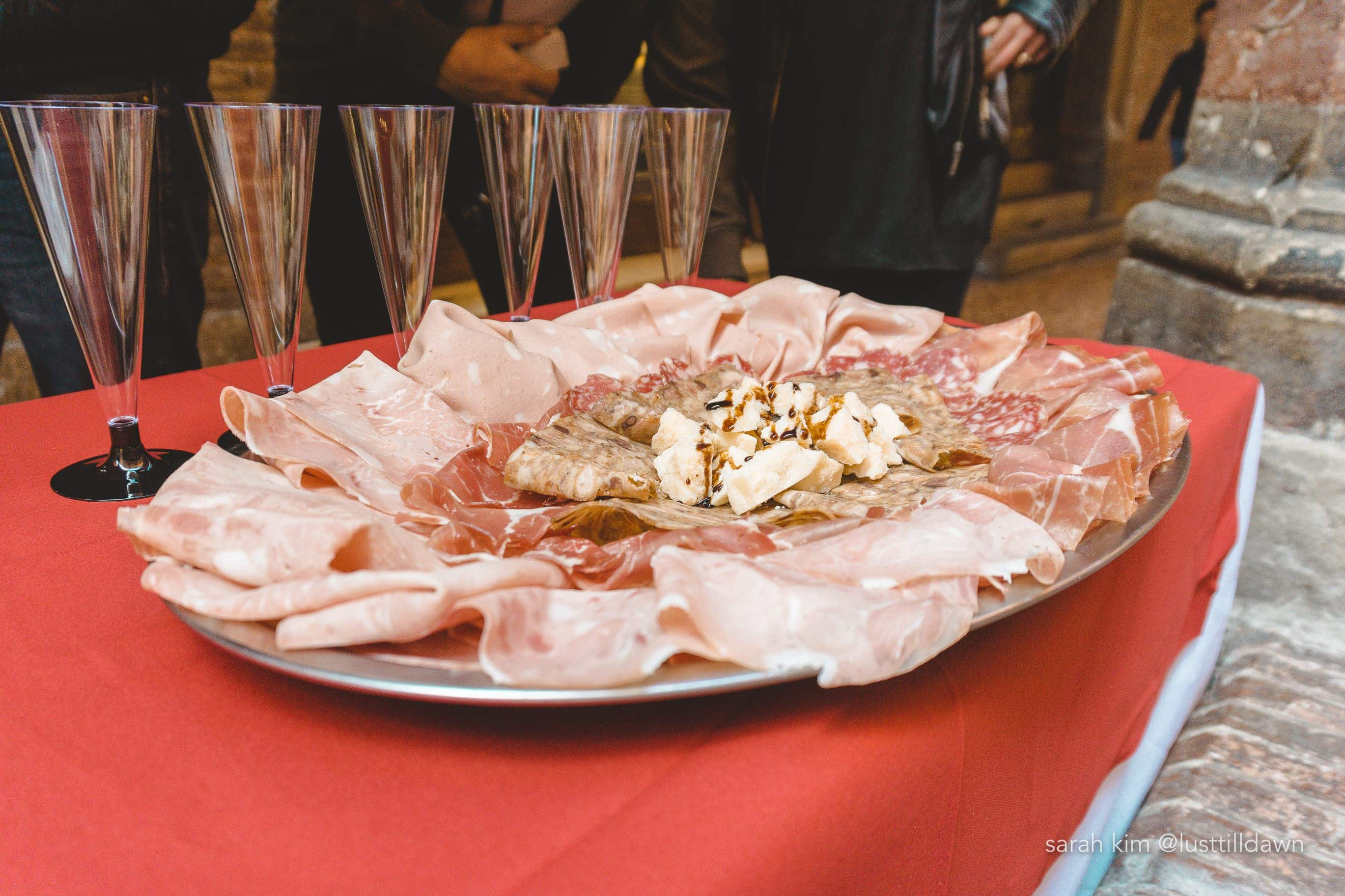 plate of charcuterie DOP meat food tour in bologna delicious bologna