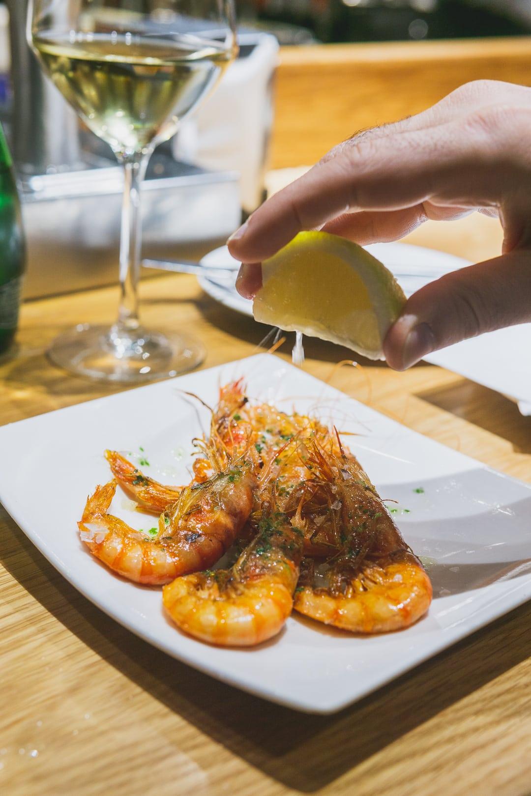 shrimp at Cerveseria Catalana best restaurants in barcelona