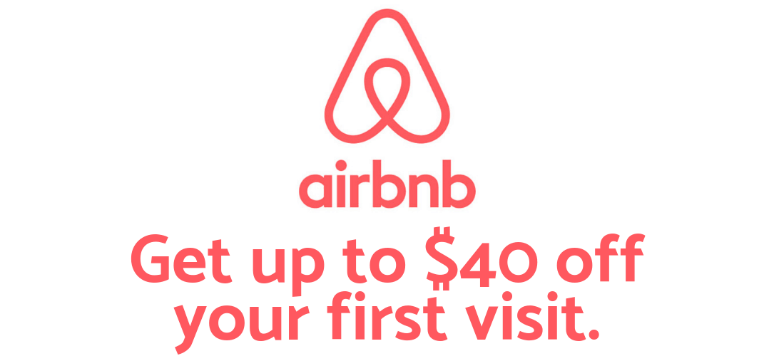 "AirBnb graphic that says ""Get up to $40 off your first visit."""