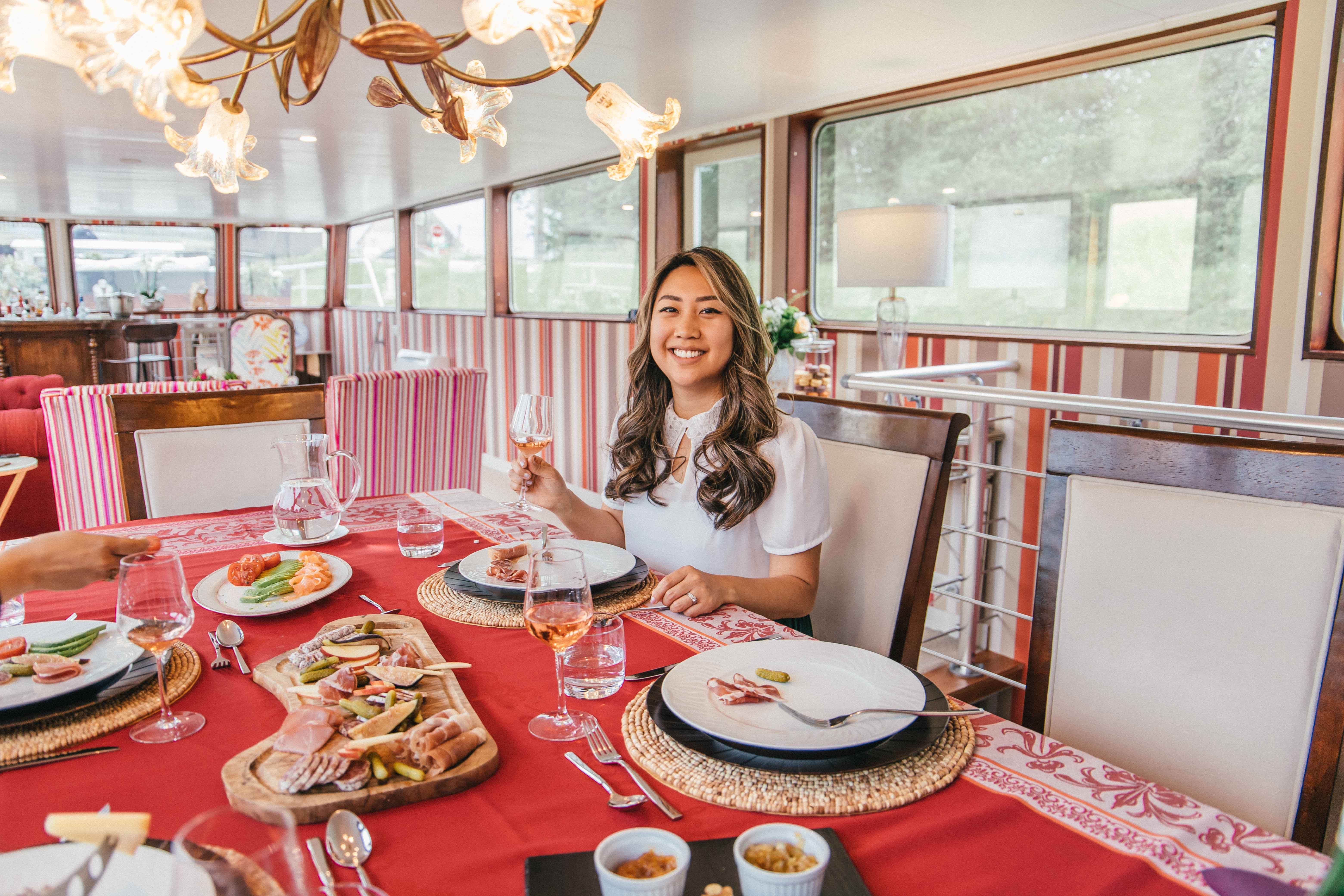 Dinner room of Grand Victoria Cruises, a luxury barge river cruise in France