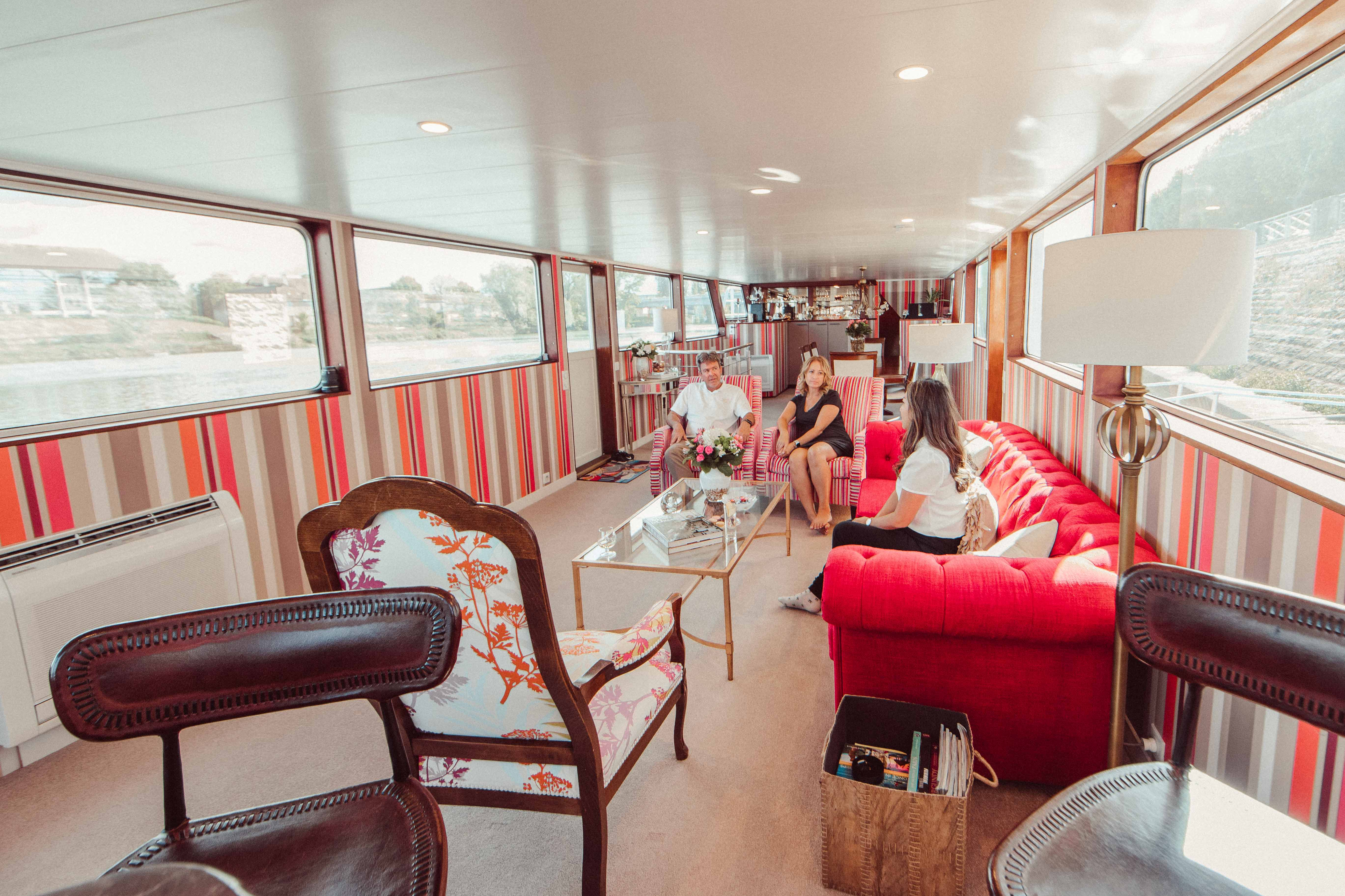 Inside of Grand Victoria Cruises, a luxury barge river cruise in France