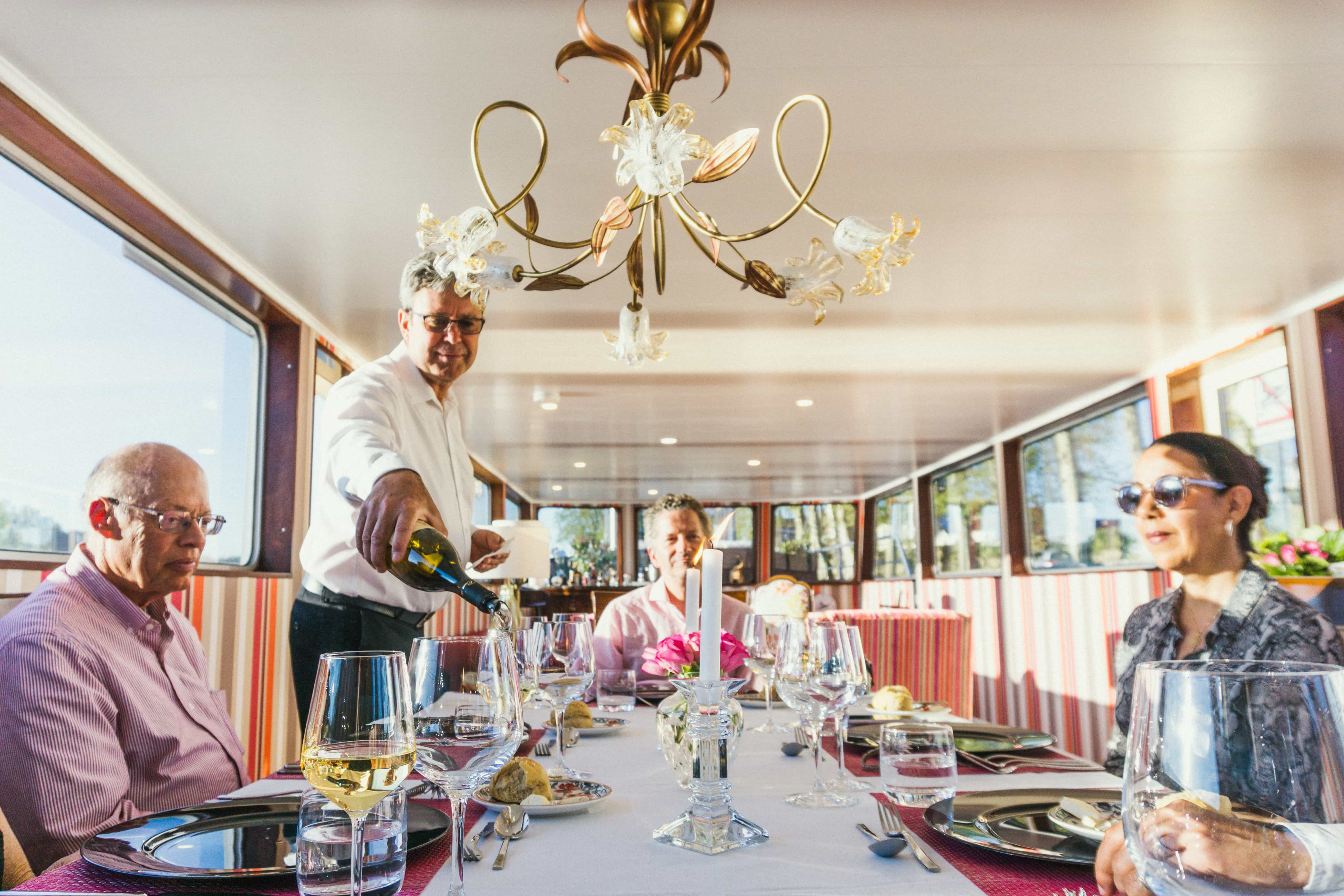 Dining on a barge cruise while cruising the canals in France on Grand Victoria Cruises