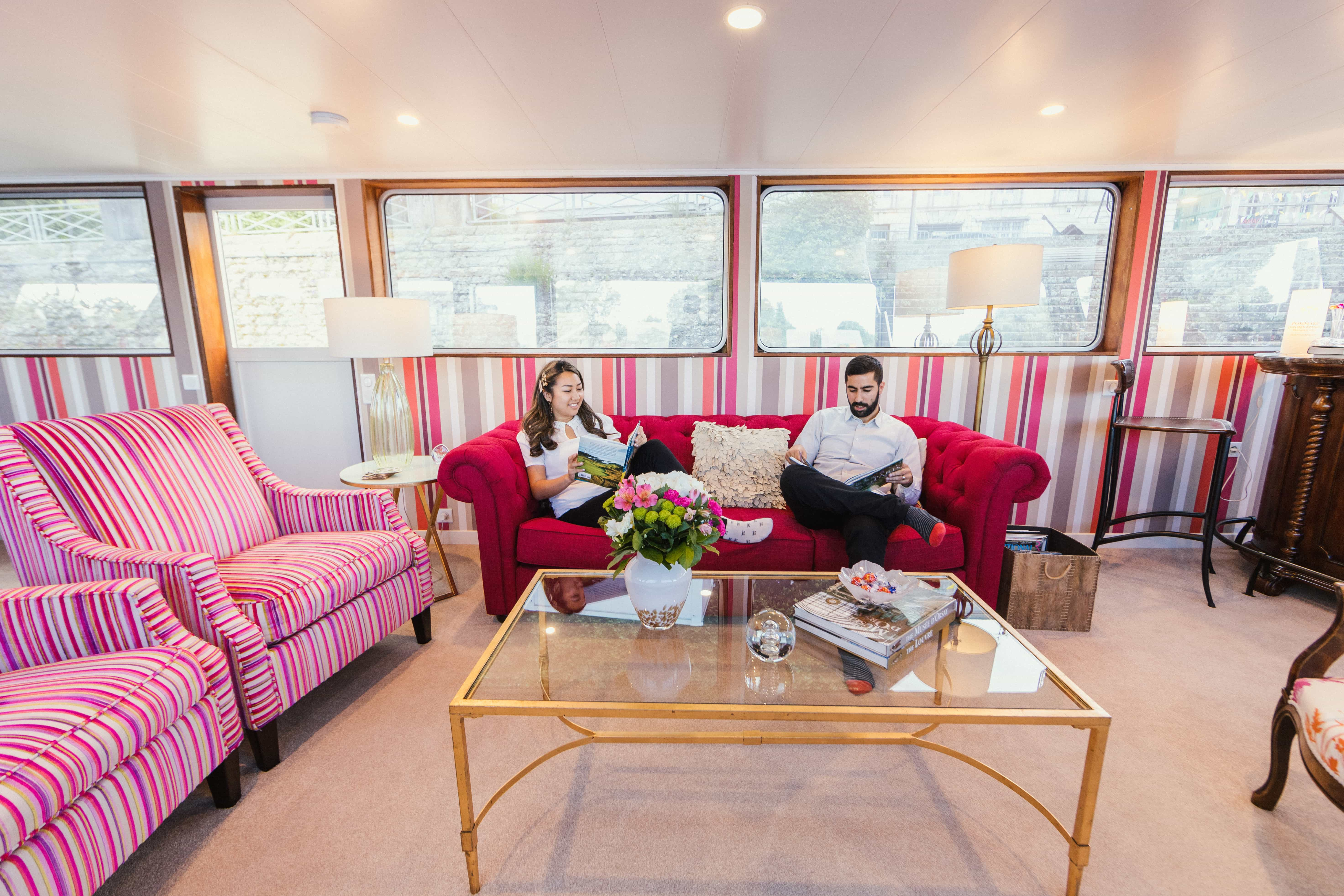 in the living room of Grand Victoria Cruises cruising the canals of France