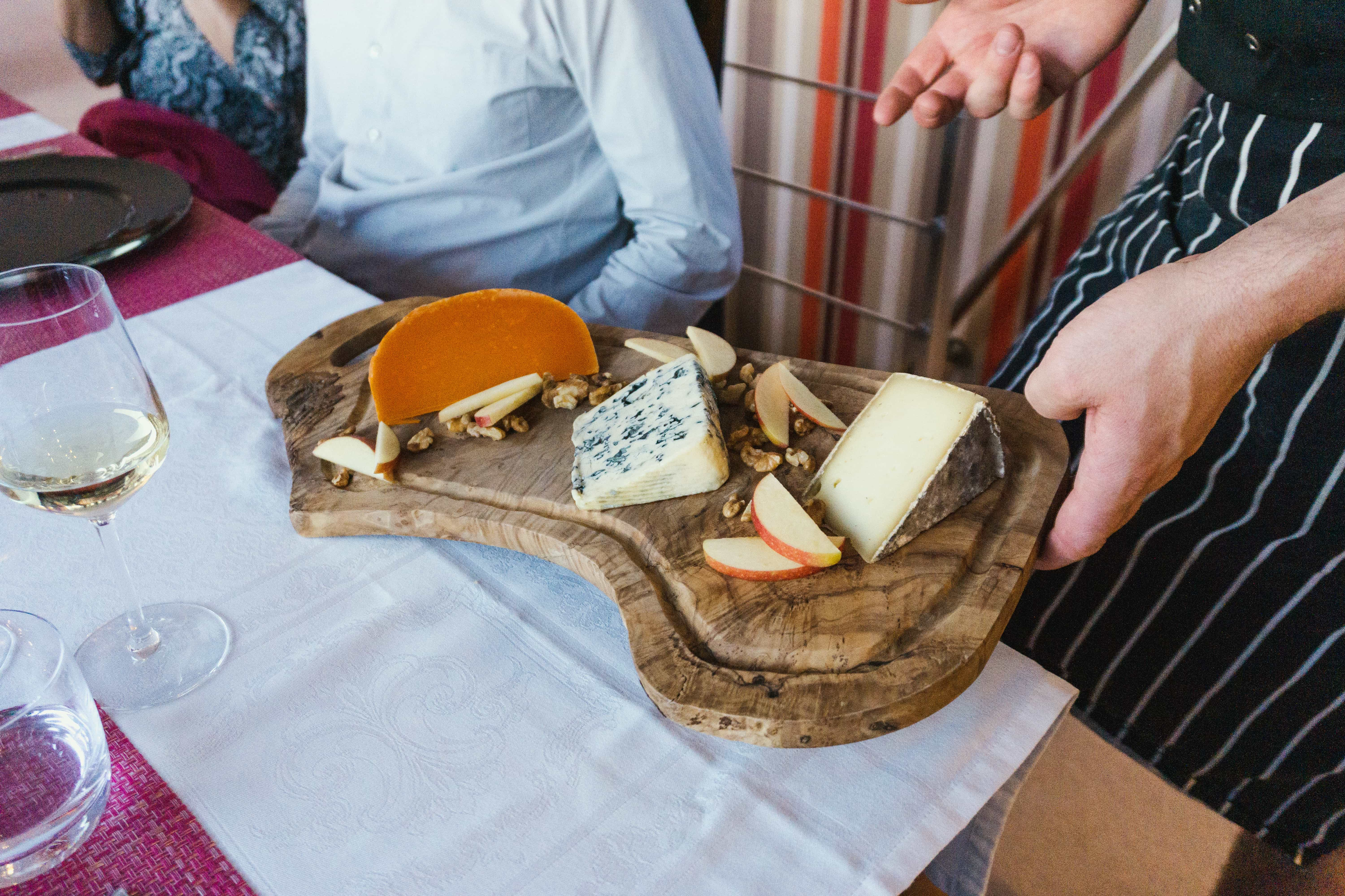 Enjoying cheese on a French barge cruise