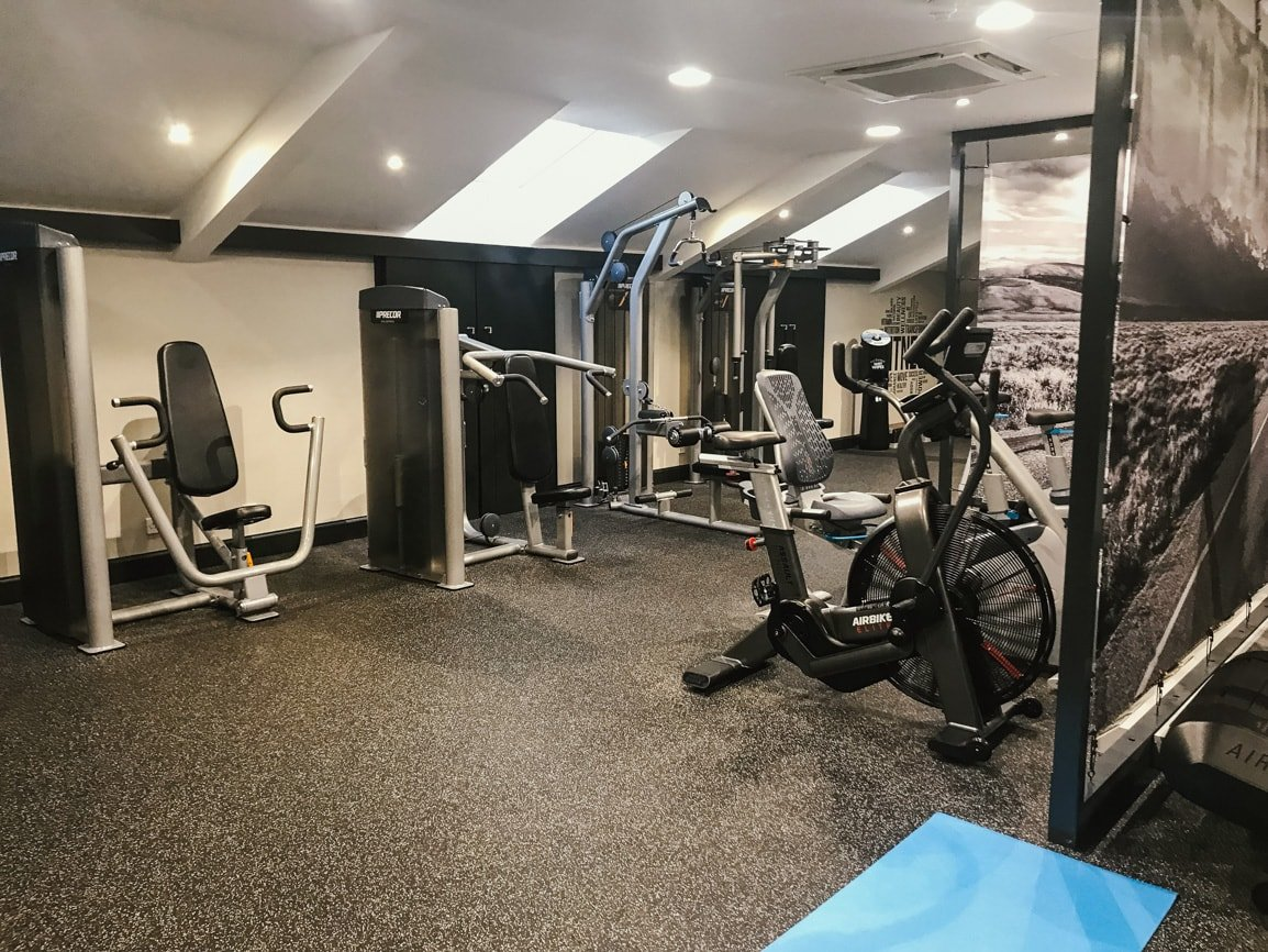 The large gym at Ardoe House Hotel and Spa in Aberdeen, Scotland