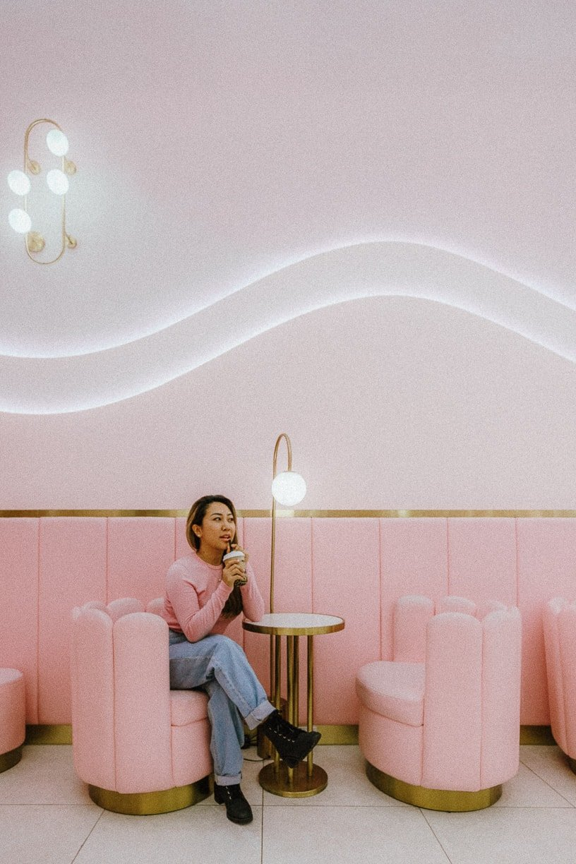 woman drinking boba tea at M tea flushing queens, Instagrammable places in NYC