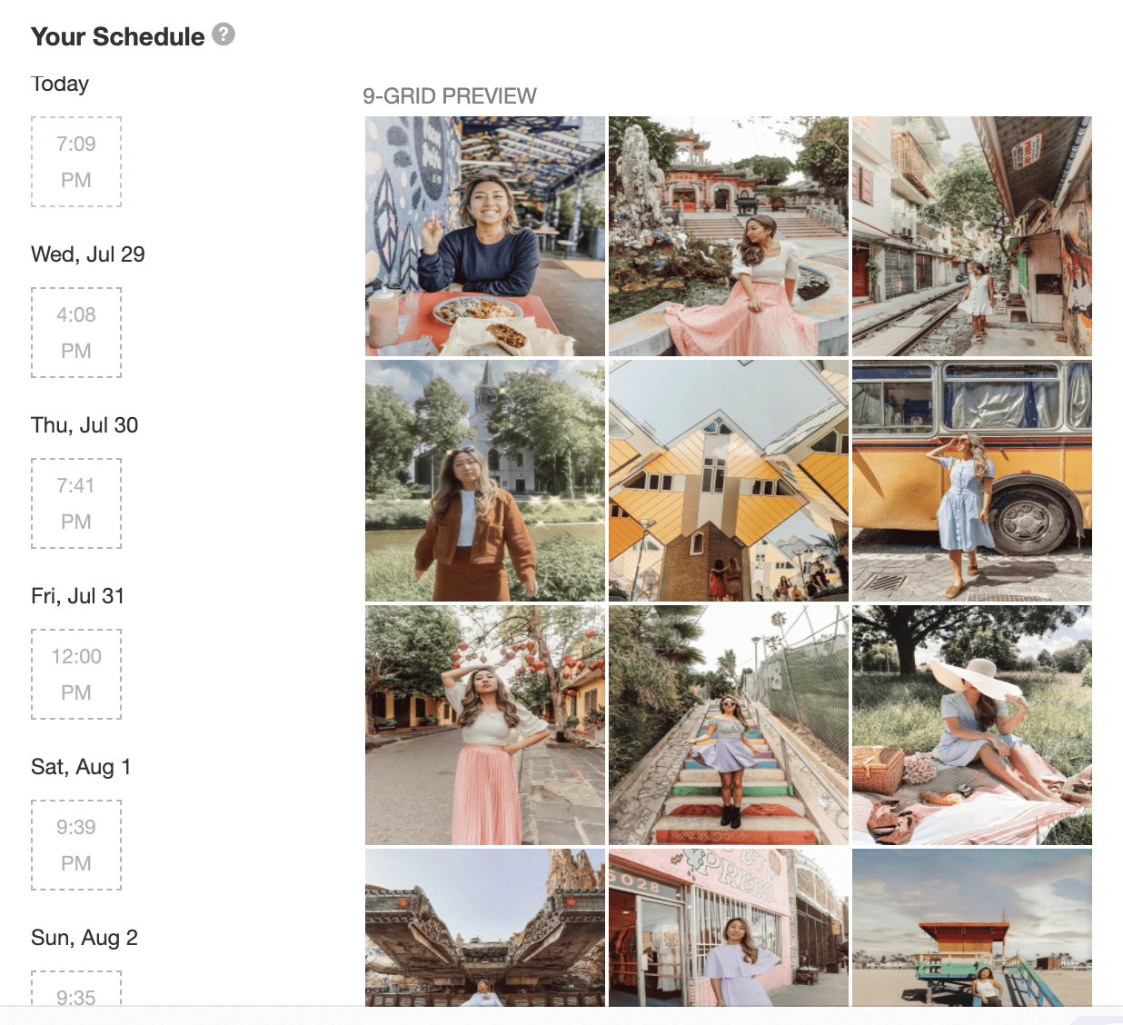 screenshot of Instagram scheduling app, which is one of the best Instagram resources