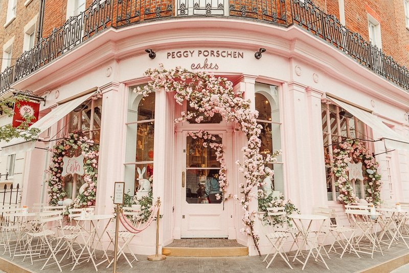 front of Peggy Porschen, one of the most instagrammable places in london