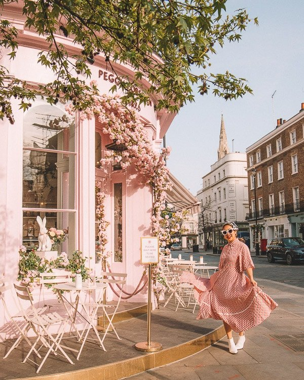 storefront of peggy porschen, one of the most instagrammable places in london