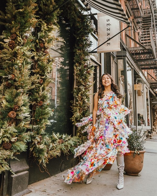 l'appartement sezane is one of nyc instagram spots; dress by Son Jung Wan